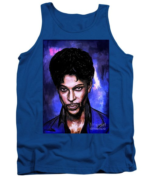 Tank Top featuring the painting Music Legend  Prince by Andrzej Szczerski