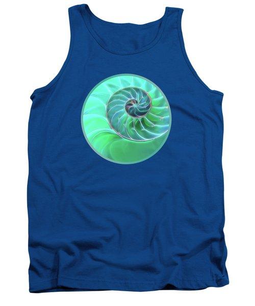 Nautilus Aqua Spiral Tank Top by Gill Billington