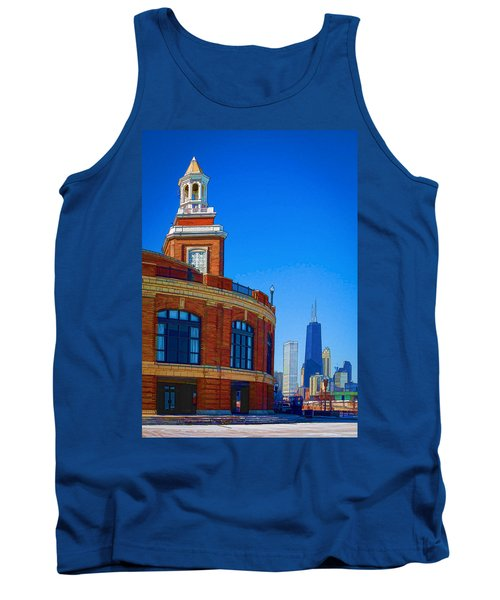 Tank Top featuring the photograph Navy Pier With Texture by Kathleen Scanlan