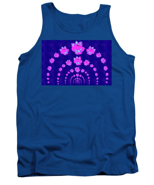Neon Pink Lotus Arch Tank Top by Samantha Thome