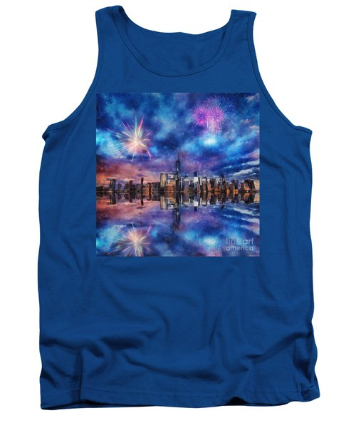 Tank Top featuring the photograph New York Fireworks by Ian Mitchell