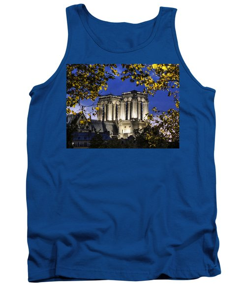 Tank Top featuring the photograph Notre Dame At Night Paris by Sally Ross