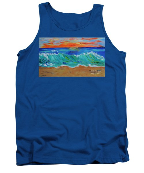 Tank Top featuring the painting Ocean Sunset by Haleh Mahbod