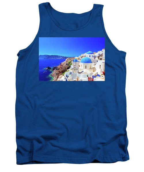 Oia Town On Santorini Island, Greece. Caldera On Aegean Sea. Tank Top