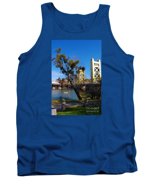 Old Sacramento Tower Bridge Tank Top by Debra Thompson