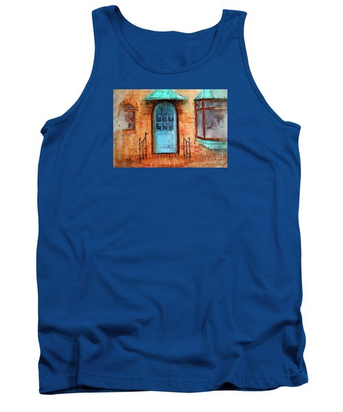 Old Service Station With Blue Door Tank Top