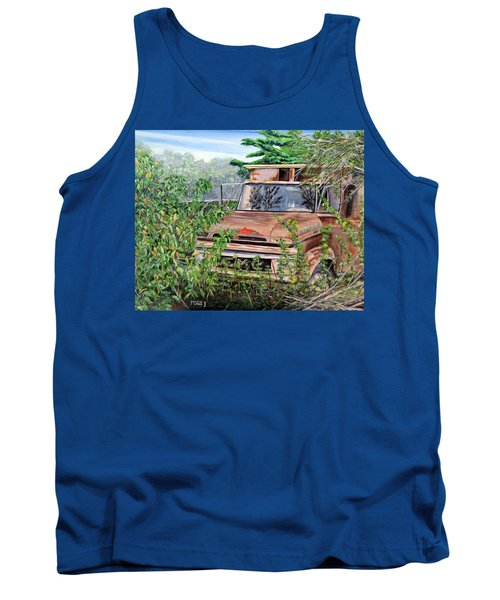 Tank Top featuring the painting Old Truck Rusting by Marilyn  McNish