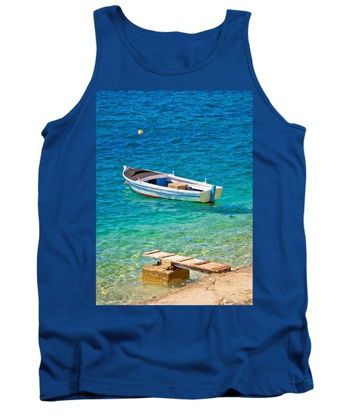 Old Wooden Fishermen Boat On Turquoise Beach Tank Top by Brch Photography
