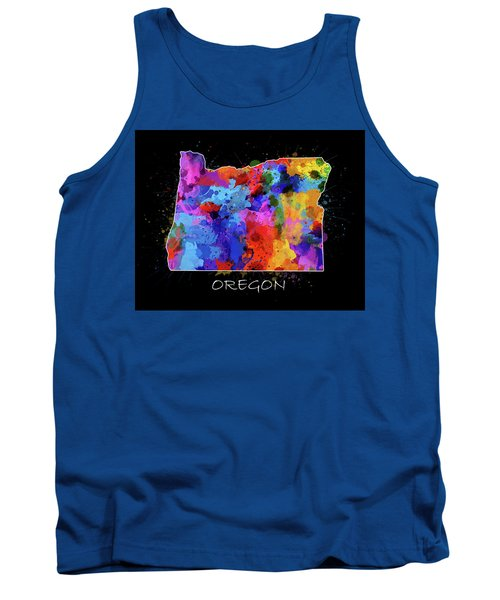 Oregon Map Color Splatter 2 Tank Top