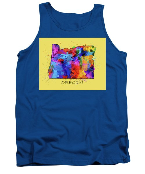 Oregon Map Color Splatter 4 Tank Top
