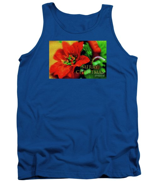 Painted Poinsettia Merry Christmas Tank Top
