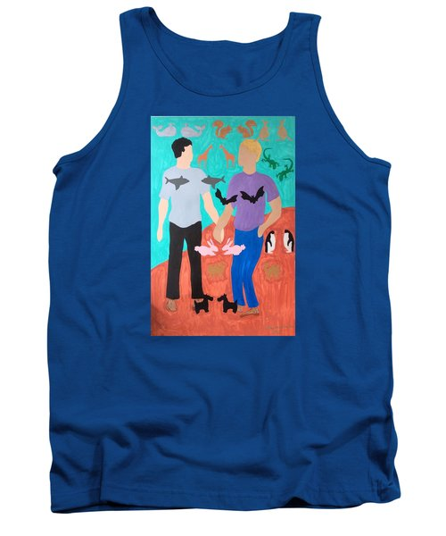 Tank Top featuring the painting Pairs by Erika Chamberlin