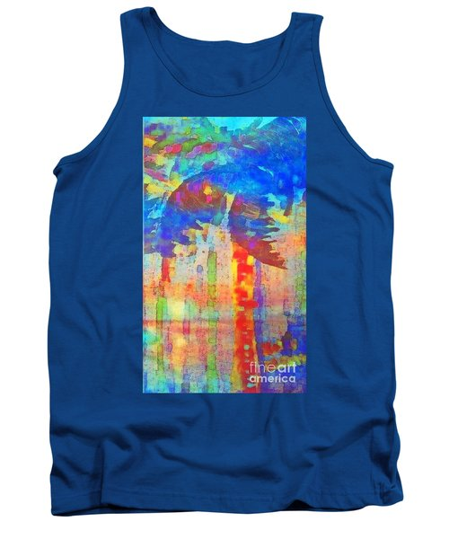 Tank Top featuring the painting Palm Party by Holly Martinson