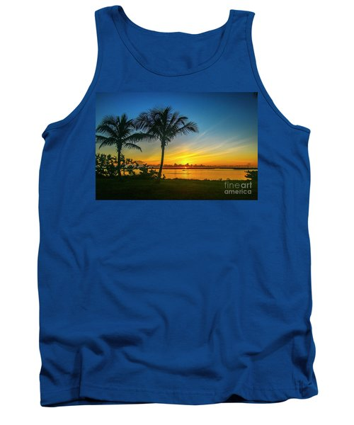 Palm Tree And Boat Sunrise Tank Top