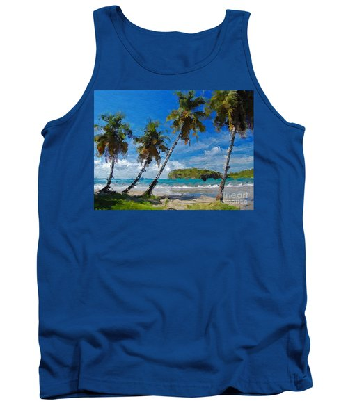 Tank Top featuring the digital art Palm Trees On Sandy Beach by Anthony Fishburne