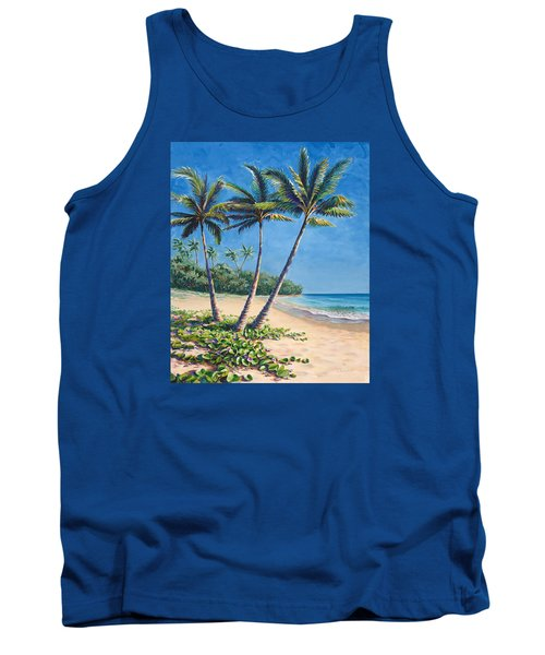 Tank Top featuring the painting Tropical Paradise Landscape - Hawaii Beach And Palms Painting by Karen Whitworth