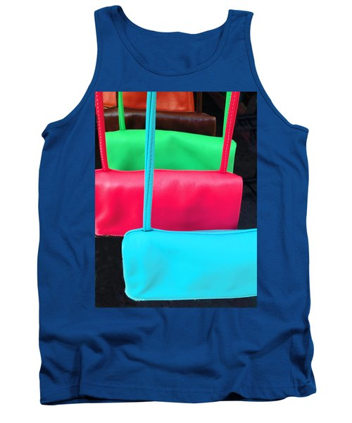 Tank Top featuring the photograph Pastel Pocketbooks - Nyc Street Fair by Rick Locke