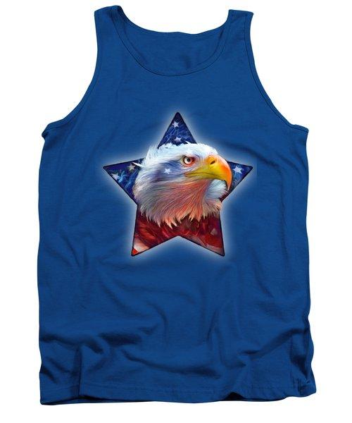 Tank Top featuring the mixed media Patriotic Eagle Star by Carol Cavalaris