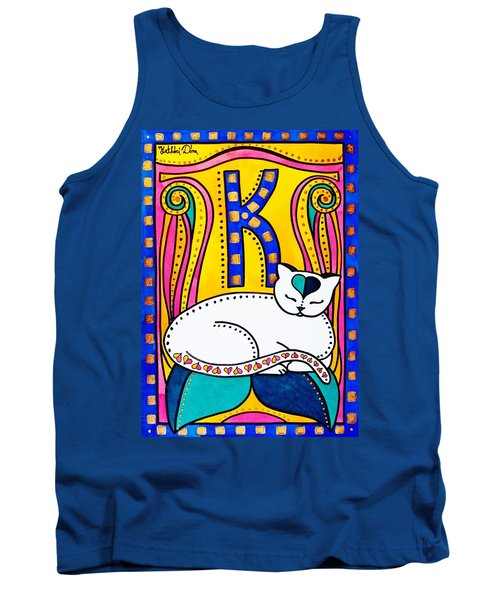 Tank Top featuring the painting Peace And Love - Cat Art By Dora Hathazi Mendes by Dora Hathazi Mendes