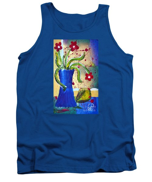 Pear And Red Flowers Tank Top
