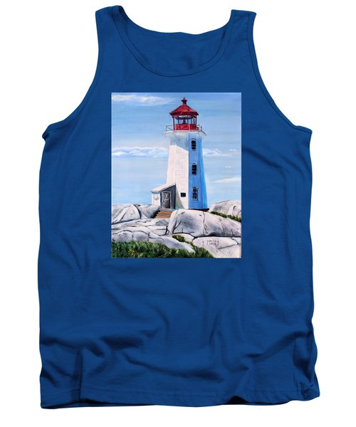 Tank Top featuring the painting Peggy's Cove Lighthouse by Marilyn  McNish