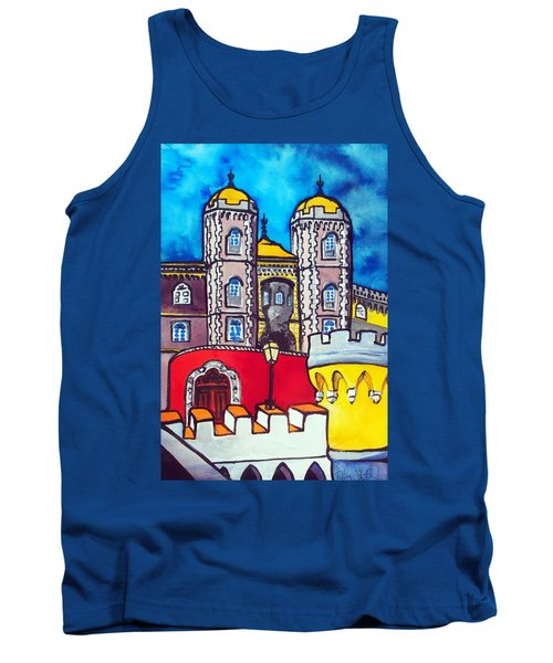Tank Top featuring the painting Pena Palace In Sintra Portugal  by Dora Hathazi Mendes