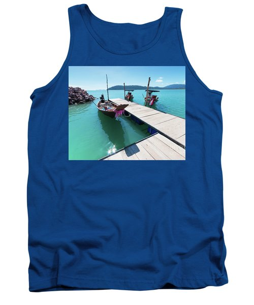 Tank Top featuring the photograph Pier At Khanom by Atiketta Sangasaeng