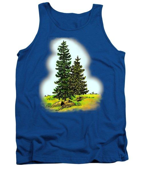 Pine Tree Nature Watercolor Ink Image 2         Tank Top