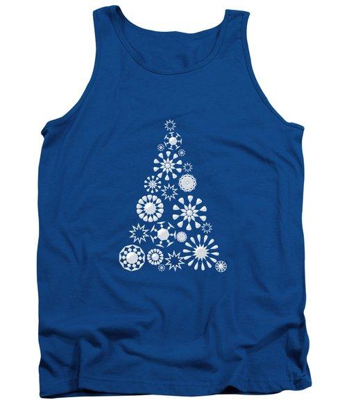Pine Tree Snowflakes - Dark Blue Tank Top