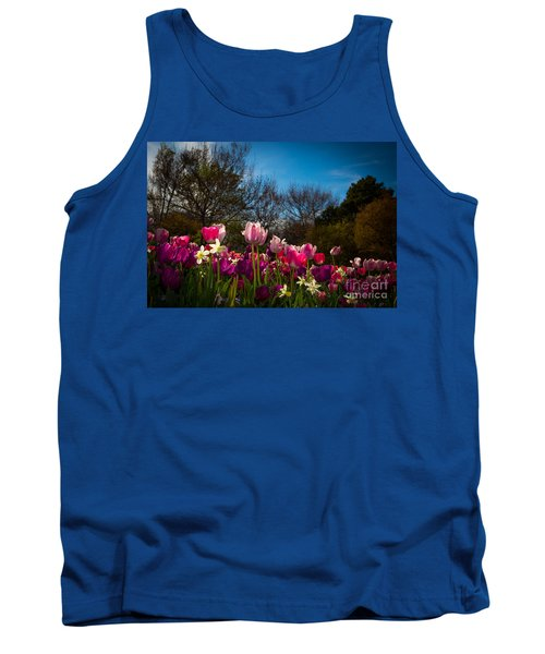 Pink And Purple Tulips Tank Top by John Roberts