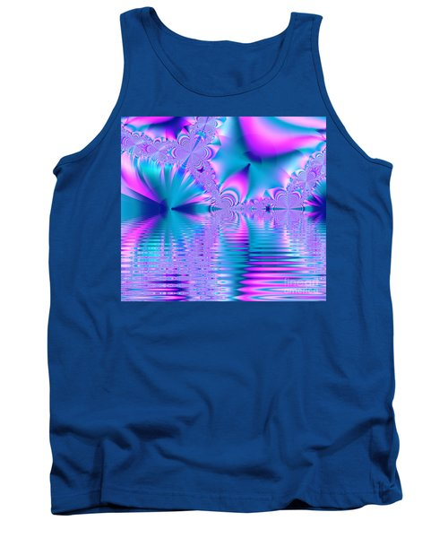 Pink, Blue And Turquoise Fractal Lake Tank Top