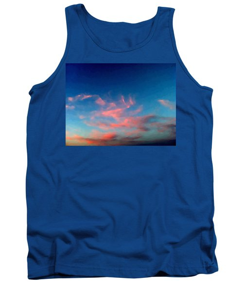 Tank Top featuring the digital art Pink Clouds Abstract by Shelli Fitzpatrick