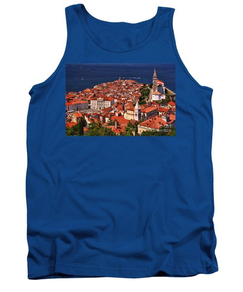 Piran From The Castle Wall Tank Top by Graham Hawcroft pixsellpix
