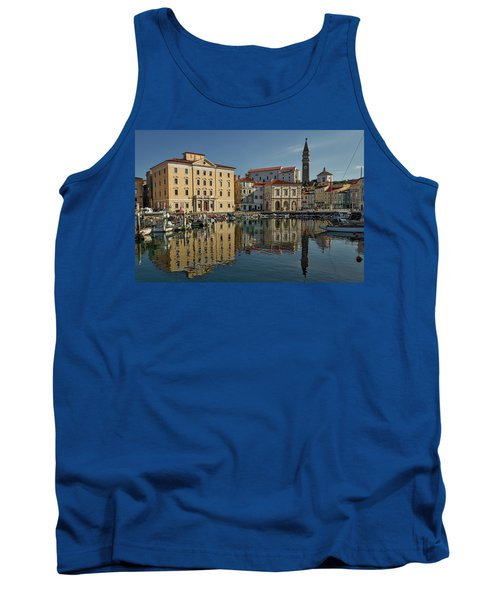 Tank Top featuring the photograph Piran Marina Reflections #2 by Stuart Litoff