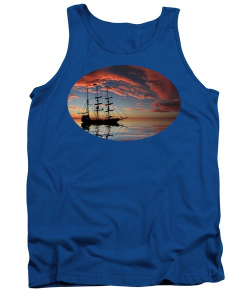 Pirate Ship At Sunset Tank Top