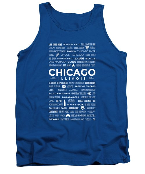 Places Of Chicago On Blue Chalkboard Tank Top by Christopher Arndt
