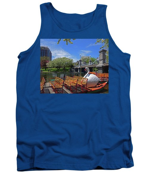 Public Garden Swan Boat In The Spring Boston Ma Tank Top
