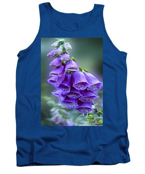 Purple Bell Flowers Foxglove Flowering Stalk Tank Top by Carol F Austin