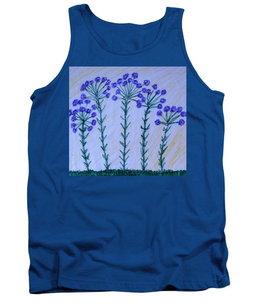 Purple Flowers On Long Stems Tank Top