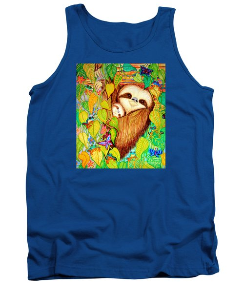 Rain Forest Survival Mother And Baby Three Toed Sloth Tank Top by Nick Gustafson