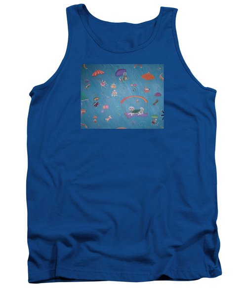 Tank Top featuring the painting Raining Cats And Dogs by Dee Davis