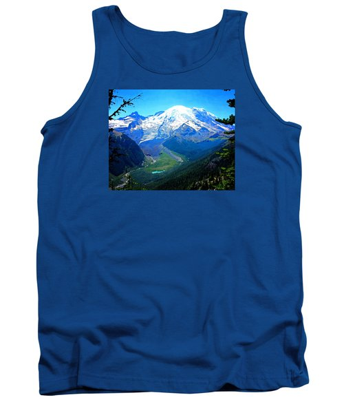 Tank Top featuring the photograph Ranier And Little Tahoma by Timothy Bulone