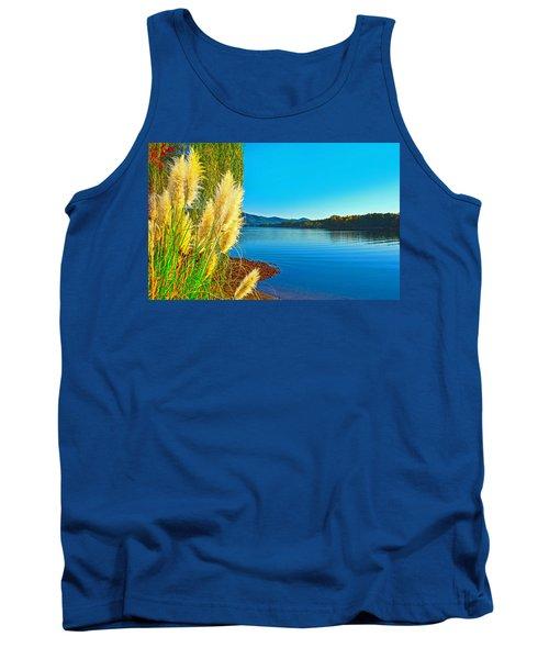 Ravenna Grass Smith Mountain Lake Tank Top by The American Shutterbug Society