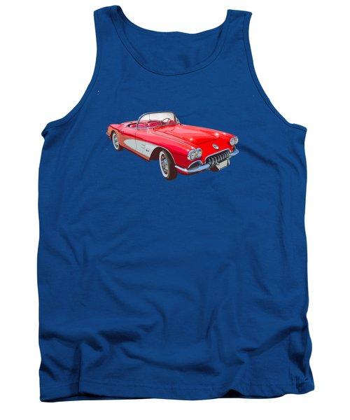 Red And White 1958 Corvette Fine Art Illustration Tank Top