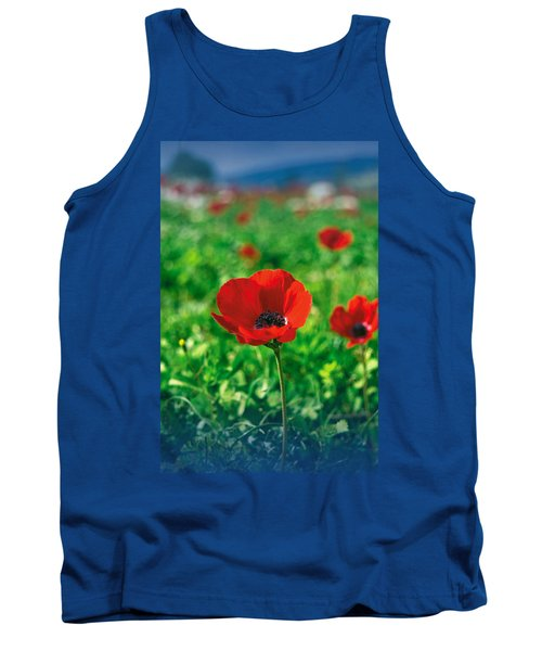 Red Anemone Coronaria T-shirt Tank Top by Isam Awad
