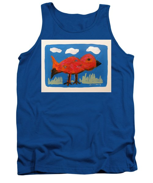 Red Bird In Grass Tank Top