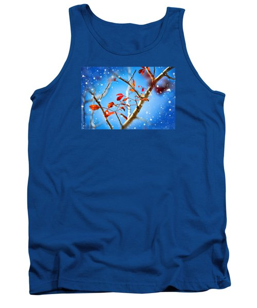 Red Leaves On Blue Background Tank Top