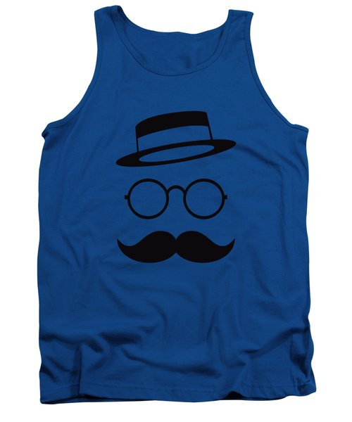 Retro Minimal Vintage Face With Moustache And Glasses Tank Top