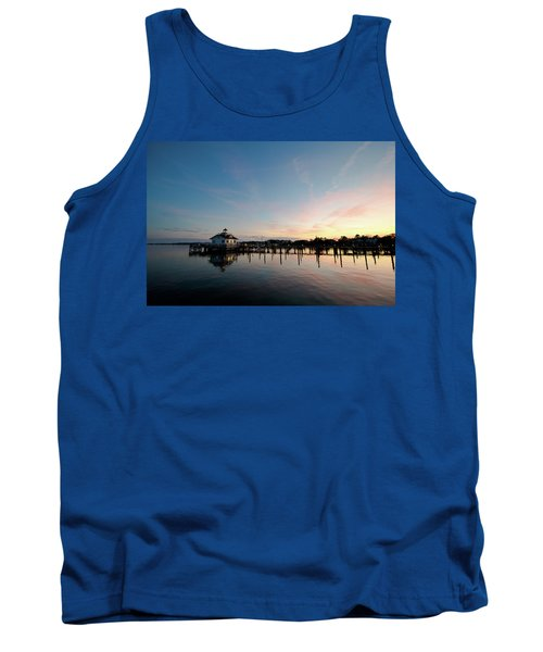 Roanoke Marshes Lighthouse At Dusk Tank Top by David Sutton