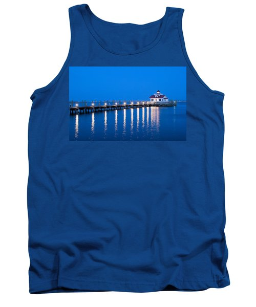Roanoke Marshes Lighthouse Revisited Tank Top by Marion Johnson